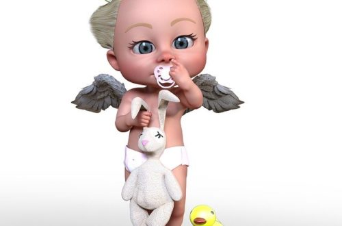 Małe dziecko ze smoczkiem i pieluchą.